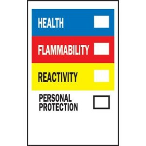 Brady 58261 Write On Right to know Container Labels 500 roll Hmig Hazard 5 x3