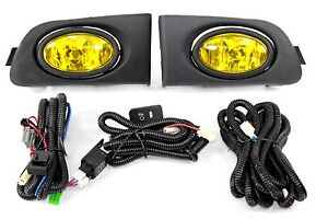 For 01 03 Honda Civic Es Em 2 4 Door Jdm Yellow Fog Light Kit Harness Complete