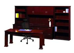 New Emerald Bowfront Executive Office Desk Table Set With Credenza And Storage
