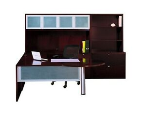 New Jade p Front U shape Executive Office Desk Set With Hutch Lateral File