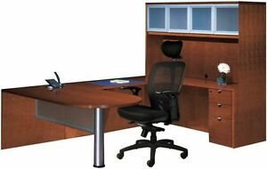 New Jade Bullet U shape Executive Office Desk With Hutch