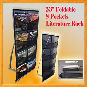 8 Pocket Literature Magazine Catalog Brochure Rack Holder Portable Trade Show