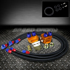 Universal Aluminum Engine Oil Filter Relocation Kit Male 3x Black Stainless Line