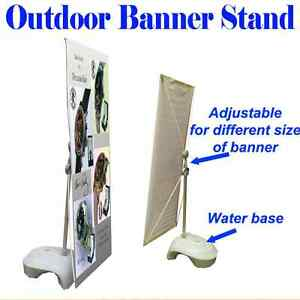 Outdoor Adjustable X Banner Stand W Water Base Trade Show Display Banner