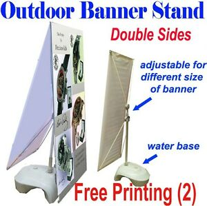 Outdoor Double Sides Adjustable X Banner Stand 2 X Free Printing Display Banner
