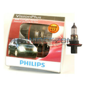 Philips Vision Plus H13 9008 50ft Longer Beam Halogen Car Headlight Bulb pair