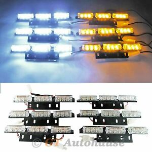 54 Led White Amber Waterproof Emergency Flashing Strobe Light Grille Roof