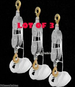 Lot 3 4000lb 2 Ton 65ft Poly Rope Hoist Pulley Block And Tackle Rope 7 1 Lifting