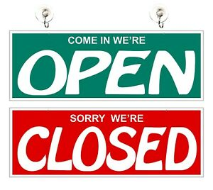 Open Closed Green Sign Business Double Sided Storefront Glass Door Window Signs