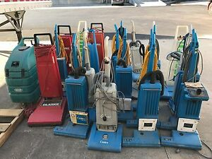 Lot Of 21 Electric Commercial Carpet Vacuums Some Wide Area Format For Parts