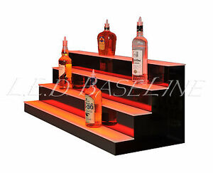 56 4 Step Shelving Glass Liquor Bottle Display
