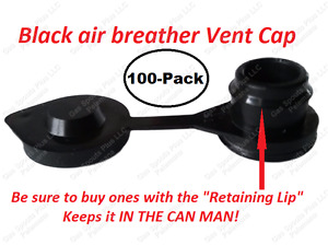 100 Black Vent Caps Replacement Gas Can Fuel Jug Plug Blitz Wedco Briggs Scepter