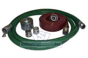 2 Green Fcam X Mp Water Suction Hose Complete Kit W 50 Red Discharge Hose