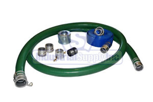 2 Green Trash Pump Water Suction Hose Kit W 75 Blue Discharge Hose