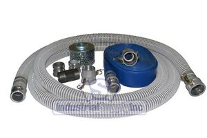 2 Flex Trash Pump Water Suction Hose Complete Kit With 75 Blue Discharge Hose