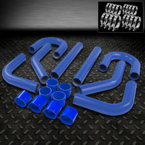 Universal 8pc 2 75 Aluminum Fmic Intercooler Piping silicone Hose t clamp Blue