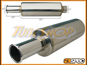 Aspec Itb Tip 2 5 Inlet Spoon Style Sus304 Stainless Universal Muffler Exhaust
