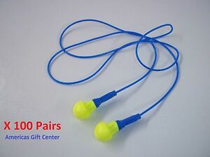100 Pairs Earplugs 3m Push ins Corded Earplug Hearing Conservation In Poly Bag