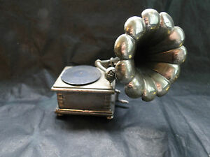 Miniature Old Gramophone Sterling Silver 800 Made Circa 1960