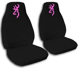 Browning Car Seat Covers In Pink Black Velour Front Set