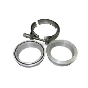 Cxracing 2 5 V band O ring Kit Aluminum Flange W Stainless Steel Clamp Turbo