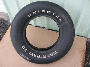 Nice Used G70 15 Uniroyal Tiger Paw Raised White Letter Muscle Car Tire