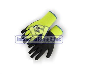 12pk Large High Visibility Winter Thermal Rubber Coated Gloves