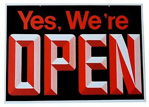 Open closed Big Visible Sign With 3d Graphics 18 Wide X 13 High Double Sided