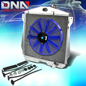 46 48 Chevy Fleetline style master L6 3 row Aluminum Racing Radiator 14 blue Fan