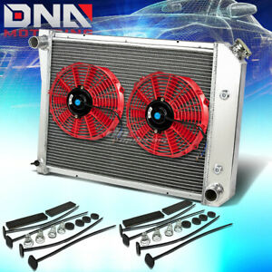 71 87 Chevy Buick Small Block Sbc 3 Row Aluminum Racing Radiator X2 Red Fans