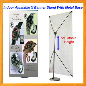 X Banner Stand W Metal Base Adjustable Indoor Sign Display