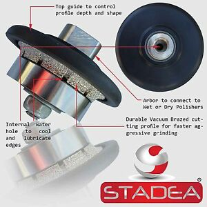 Stadea Diamond Profile Wheel Hand Bits 3 16 Demi Radius Granite Stone Profiling
