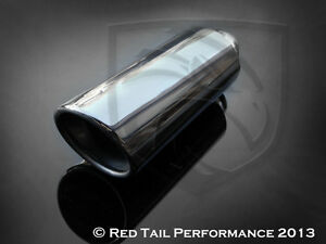 Exhaust Muffler Tip Dual wall Oval Angled 2 25 Inlet 4 5 X 3 75 Od Outlet