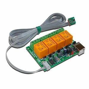 Pc Usb Four 4 Relay Board With Temperature Sensor Tcn75a For Home Automation