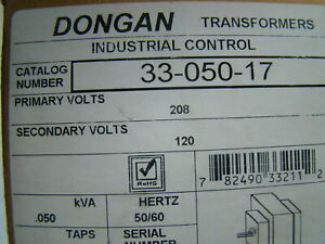 Dongan 05 Kva Single Phase Transformer Pri 208v Sec 120v 33 050 17