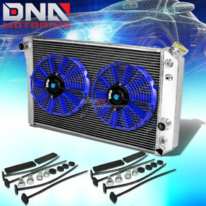 84 90 Chevy Corvette 5 7 L83 S10 V8 3 Row Aluminum Racing Radiator X2 Blue Fan