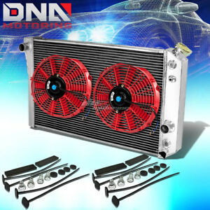 84 90 Chevy Corvette 5 7 L83 S10 V8 3 Row Aluminum Racing Radiator X2 Red Fan