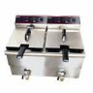 Adcraft Double Fryer Electric Df12l 2 With Lids Excellent Value