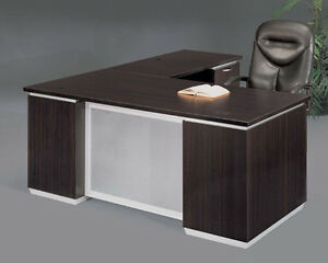 New Pimlico Mocha Modern 72 Executive L shape Office Desk With Glass Panel