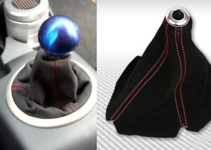 Universal Red Stitch Black Suede Shifter Shift Gear Boot Cover Manual auto Usa