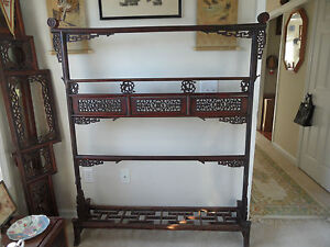 Genuine Antique Chinese Furniture Hand Carved Wood Clothing Rack