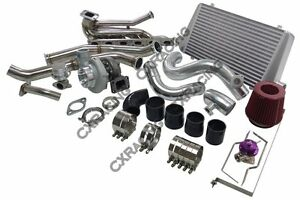Gt35 Turbo Kit Manifold Downpipe Intercooler Top Mount For 92 98 Bmw E36 Black