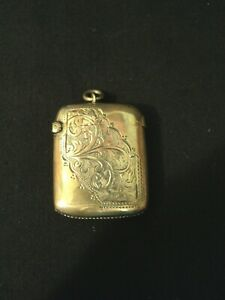 Nice Antique English Sterling Silver Engraved Match Safe C 1903