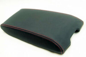 Center Console Armrest Real Leather Cover For Dodge Charger 06 07 Red Stitch
