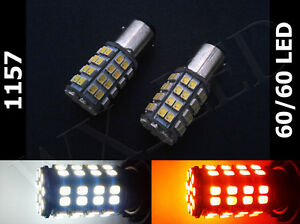 2x 1157 2357 3497 120 Led White Amber Switch Back Dual Colors Turn Signal Type 1