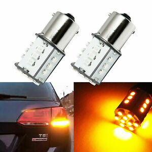 2x Amber Yellow 24 Led Bulbs For 1154 1156 1159 Front Rear Turn Signal Drl