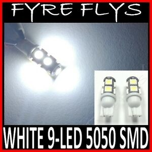 2x Super White 9 Led Lights 5050 Smd Xenon Hid T10 T15 R2