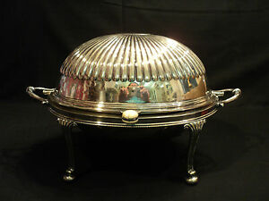 W H S English Silver Plated Rolling Dome Breakfast Buffet Server 5