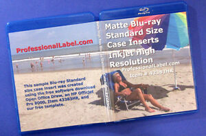 Blu ray Standard Size 12mm Case Insert Covers Photo Matte 100 Sheets 43383hr