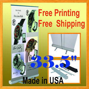 33 5 Retractable Free Graphic Printing Roll Up Banner Stand Trade Show 850mm